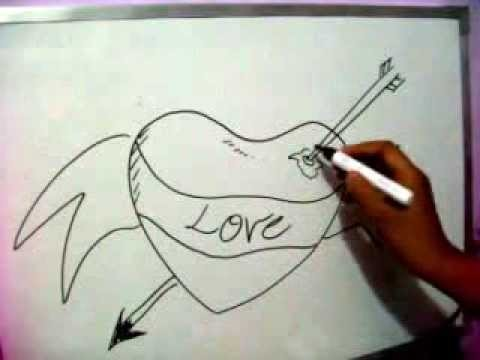 How To Sketch Love Heart. Draw Arrow Through  Lovers Heart