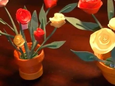 Miniature quilling Rose pot with NO TOOLS :)