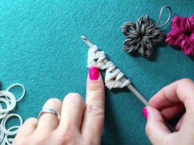 Rainbow Loom Band Flower Charm - New Loomless Design   Tutorial