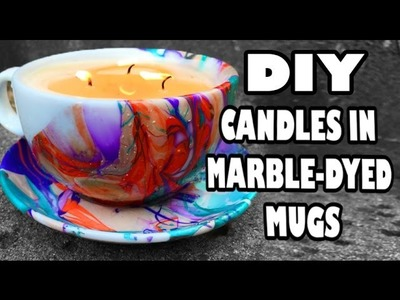 DIY Decor: Candles in Marble-Dyed Mugs!
