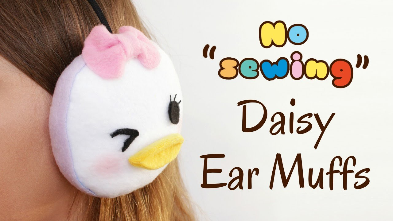DIY Tsum Tsum Daisy Earmuffs - No Sewing - 2 Cats & 1 Doll