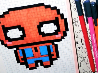 Handmade Pixel Art - How To Draw a Cute Spider-man by Garbi KW
