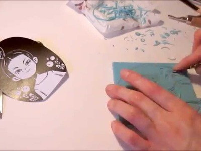 Stamp Carving, printing and coloring of an Illustration Portrait by Iraville