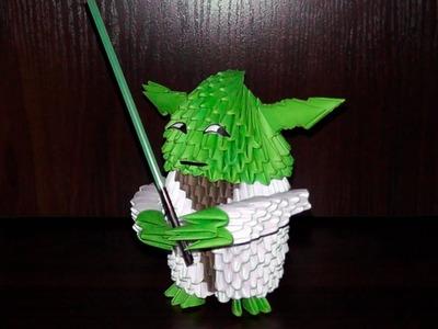 3D origami Jedi Master Yoda from Star Wars diagram (Tutorial)