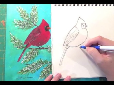 Cardinal Drawing Tutorial | How to Draw Birds | Angelooney