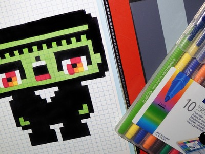 Handmade Pixel Art - How To Draw a Kawaii Frankenstein by Garbi KW #Halloween #Pixelart