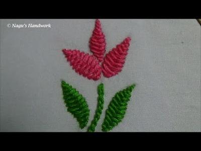 Herringbone Stitch(Filling Flower&Leaf)-Chain Stitch-Hand Embroidery Tutorials By Nagu's Handwork