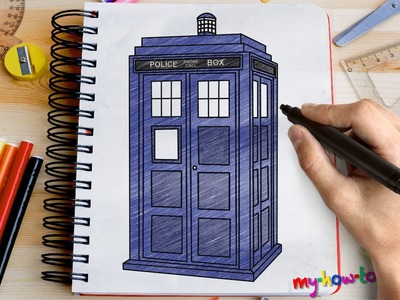 How to draw Tardis from Doctor Who - Easy step-by-step drawing lessons for kids