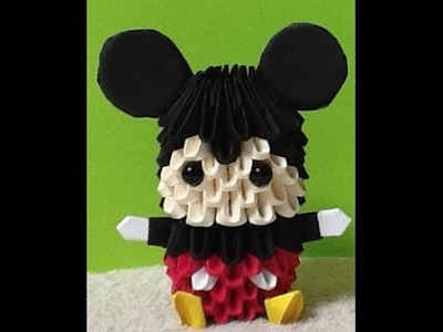 How to make 3D Origami Mickey Mouse (HD) part 2