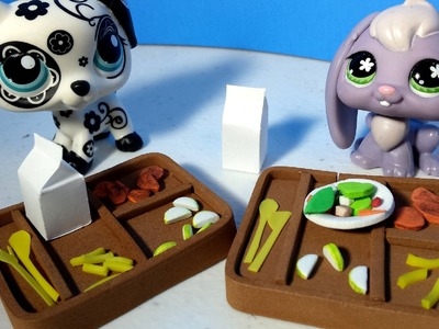 How to Make an LPS School Lunch Tray and Food w. Plates and Cutlery: Doll DIY