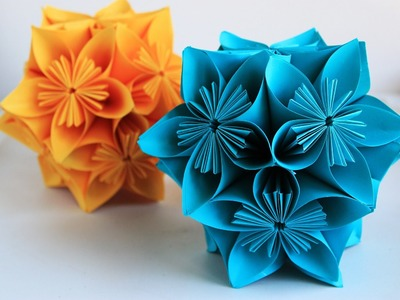 Origami flower globe tutorial - How to make origami flower globe
