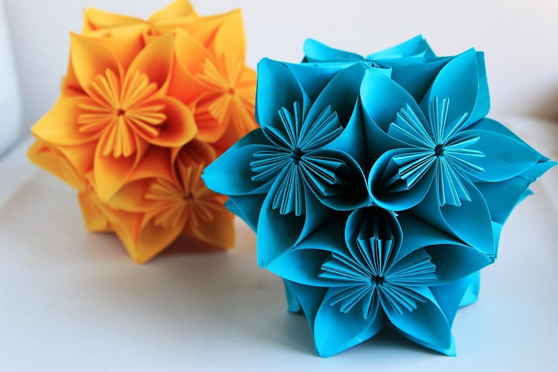 Origami flower globe tutorial - How to make origami flower globe