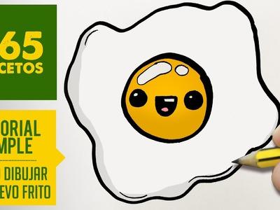 COMO DIBUJAR UN HUEVO FRITO KAWAII PASO A PASO - Dibujos kawaii faciles - How to draw a fried egg