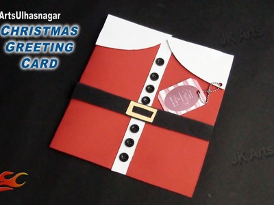 DIY Easy santa claus Christmas Greeting Card |  How To Make | School Project for Kids | JK Arts 816