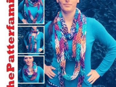 How To Finger Knit a Long Skinny Infinity Scarf Pattern #43│by ThePatterfamily