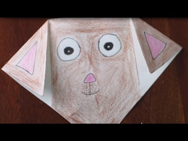How To Make Draw Color A Paper Puppy Face - Origami Dog Face | Off School Hobbies