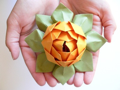 Origami flower LOTUS - how to make a origami flower lotus