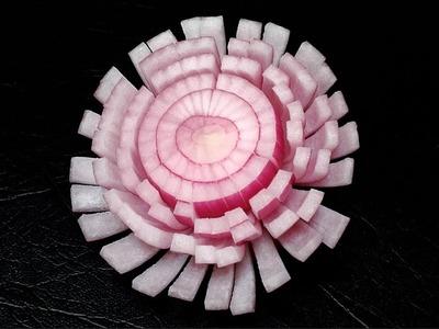 Simple Red Onion Chrysanthemum Flower - Beginners 59 By Mutita Art Of Thai Fruit Vegetable Carving