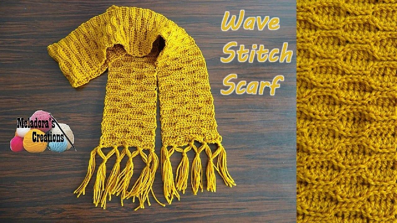 Wave Stitch Scarf - Left Handed Crochet Tutorial