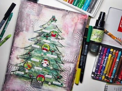 Whimsical Christmas Tree Colour Journal Mixed Media Tutorial