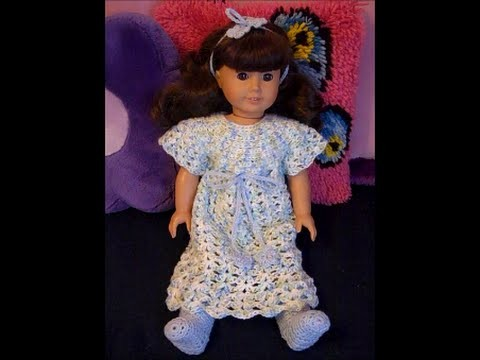 "Bedtime for Dolls - Nightgown Sash & Headband for 18"" Dolls Crochet Pattern Tutorial Part 3"