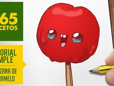 COMO DIBUJAR UNA MANZANA DE CARAMELO KAWAII PASO A PASO - Dibujos kawaii faciles - draw candy apple
