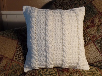 #Crochet Cable Stitch Throw Accent Pillow #TUTORIAL