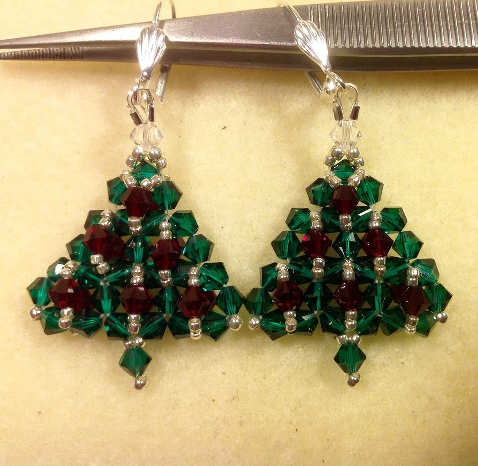 Crystal Christmas Tree Earrings Tutorial