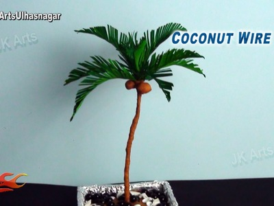 DIY Palm.Coconut Crepe Paper Wire Tree | How to make | JK Arts 800