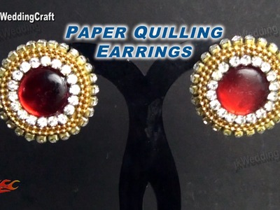 DIY Paper Quilling Stud Earrings | How to make | JK Wedding Craft 046