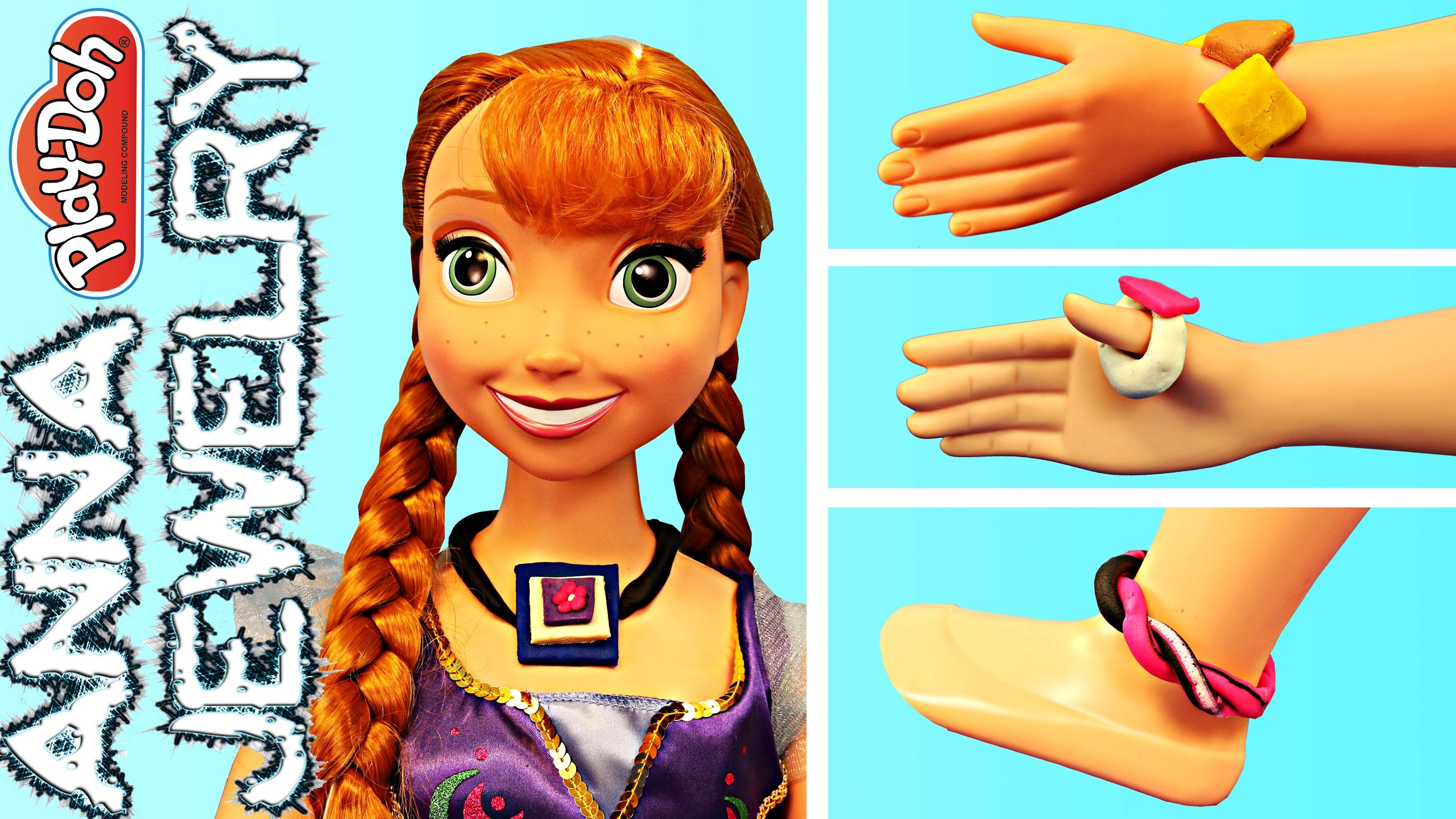 Frozen Disney My Size Anna Doll Making Play Doh Jewelry Necklace Bracelet and Anklet Tutorial
