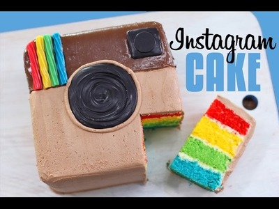 INSTAGRAM RAINBOW CAKE - With NUTELLA! | How to Make an Easy Instagram Cake
