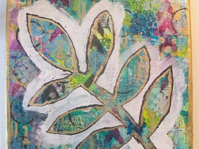 #lovefallart. how to make a mixed media art Canvas - The Leaf. tutorial