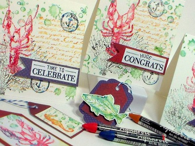 Nautical Watercolor Stamped Cards! {Tips for using watercolor crayons or pencils to stamp!}