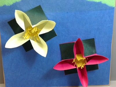 Origami Water Lilies in a Pond Display Shikishi
