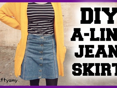 DIY A-Line Jean Skirt Transformation | CraftyAmy