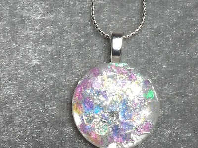 DIY~Stunning Faux Opal Pendant From Recycled Buttons!