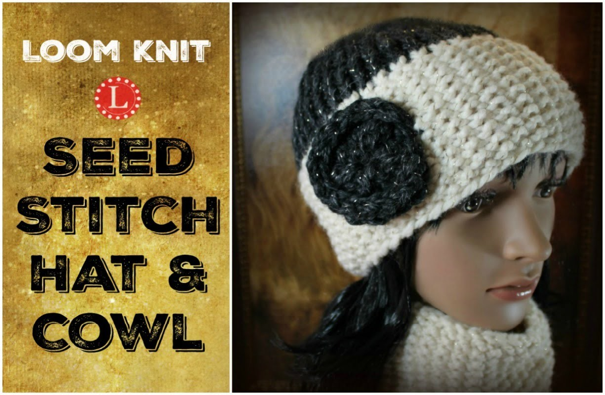 LOOM KNIT HAT : Seed Stitch Brim Hat and Matching Cowl