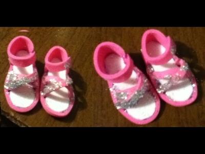 Tutorial como hacer unas sandalias o zapatos para tus muñecas. How to make doll sandals foami
