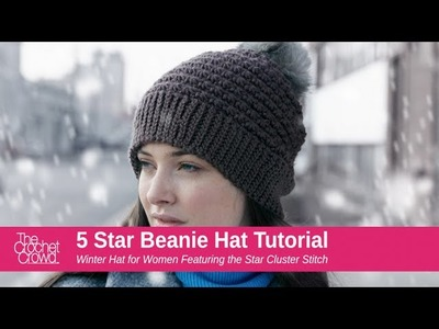 Crochet 5 Star Beanie Hat Tutorial