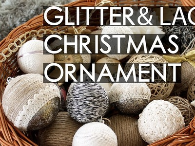 Design Globes: yarn, glitter and lace   DIY Rustic Christmas Decorations (part. 5)