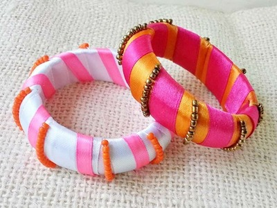 How To Create Ribbon And Bead Wrapped Bangles - DIY Crafts Tutorial - Guidecentral