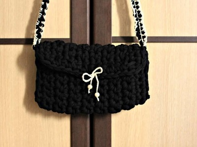 How To Crochet A Shoulder Bag With Black Fabric Yarn - DIY Crafts Tutorial - Guidecentral