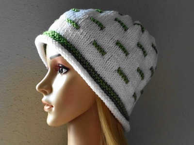 How To Knit A White And Green Hat, Lilu's Knitting Corner Video # 18