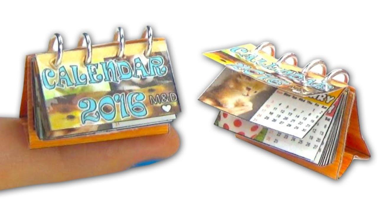 Miniature doll calendar tutorial - Miniatures & Dollhouse DIY ❤