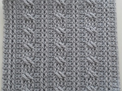 Crochet Cables  Square 1: Bars & Twists part 1; rows 1-4
