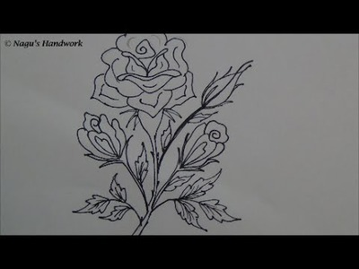 Flower Tutorial-How to Draw Rose-Simple Drawing by Nagu's Handwork