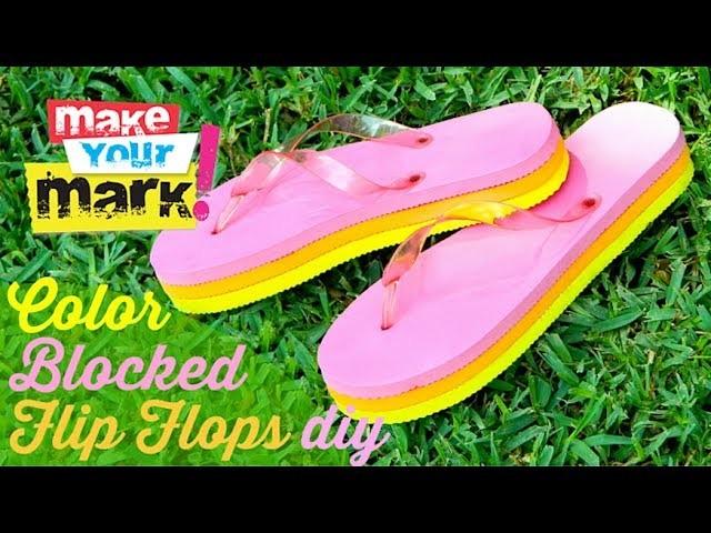 How to: Color Blocked Wedge Flip Flops
