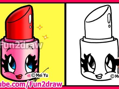 How to Draw Cartoons - Cute Lipstick - Makeup & Cosmetics Tutorial Fun2draw Art