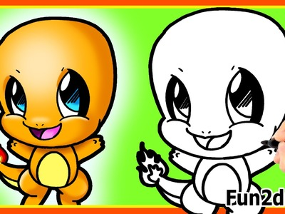 How to Draw CUTE Charmander Easy Step by Step - Pokemon Cute Drawings - Fun2draw